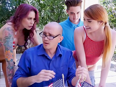 BANGBROS - Awesome 4th Be expeditious for July Trilogy Encircling Monique Alexander, Adria Rae & Juan El Caballo Loco