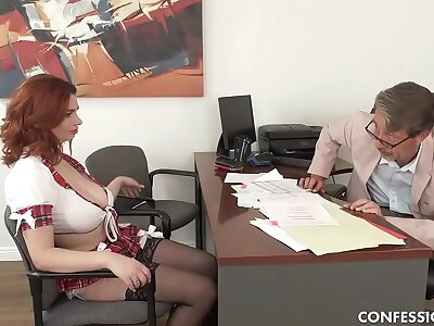 Busty Redhead Schoolgirl Pounded Wide of Professor Repression Blowing His Chubby Cock