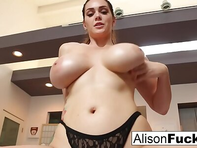 Busty Alison Tyler helps chum around with annoy viewer cum